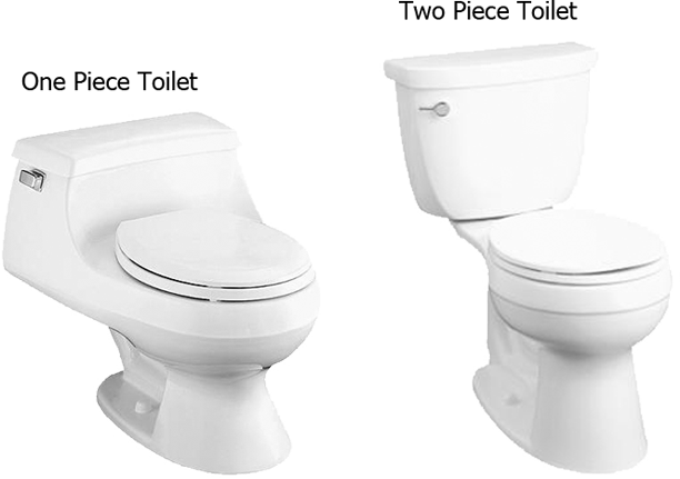 1 Piece Toilet and 2 Piece Toilet